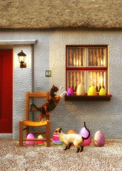 Chats – Chats au matin de Pâques sur Jan Keteleer