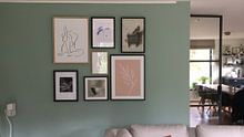 Klantfoto: Pink Leaf - Botanische Print van MDRN HOME, op canvas