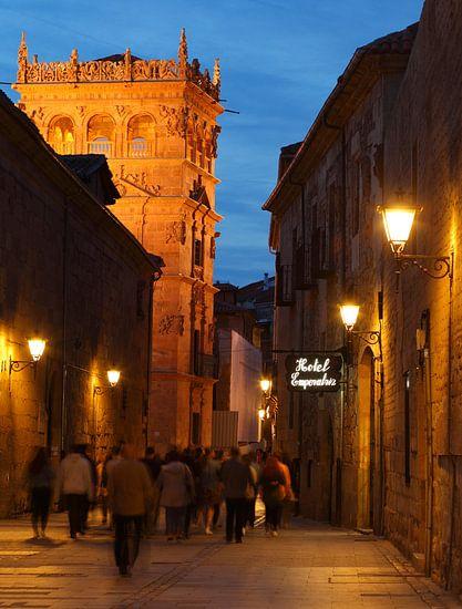 Altstadt, Abenddämmerung, Kirche, Straße, Salamanca, Spanien, Europa