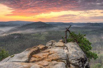 Sunrise in Saxon Switzerland van Michael Valjak