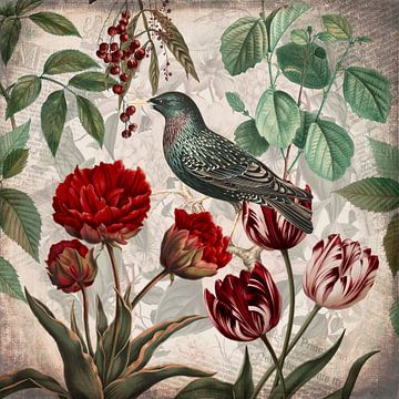 Vogel mit Tulpen