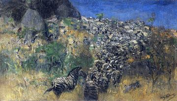 Vluchtende zebra's,  WILHELM KUHNERT, 1911-1916 van Atelier Liesjes