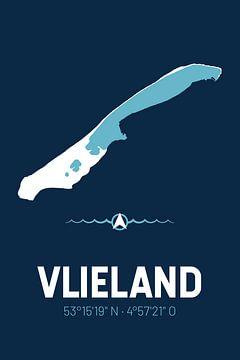Vlieland | Design kaart | Silhouet | Minimalistische kaart van ViaMapia