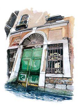 Alte Wassertür in Venedig - Aquarellmalerei von WatercolorWall