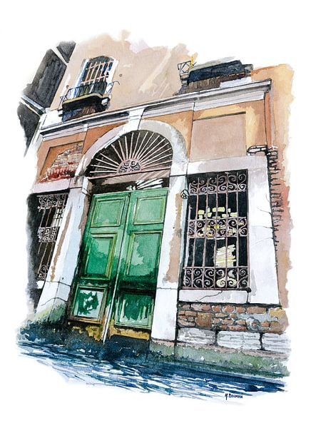Oude deur in Venetië - Aquarel schilderij van WatercolorWall