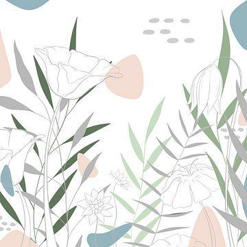 Pastel Bloem- Moderne Bloemen illustratie - Blauw Groen Roze van Studio Hinte