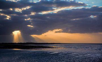 Sonnenuntergang auf dem Wattenmeer von Annie Snel