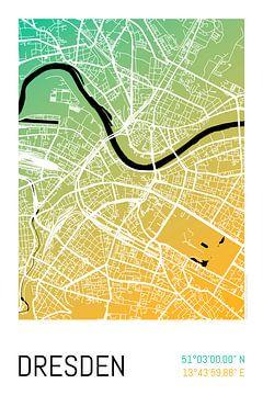 Dresden – City Map Design Stadtplan Karte (Farbverlauf) von ViaMapia