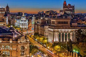Nacht opname van Madrid van Bob de Bruin