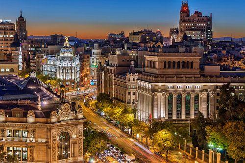 Nacht opname van Madrid van