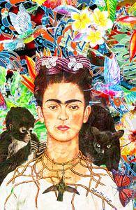 Frida Kahlo Portret door Giovani Zanolino van Giovani Zanolino