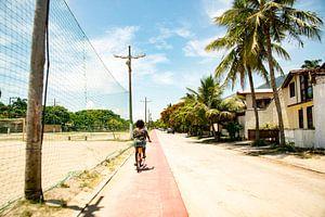 Fietsen op tropisch eiland Illa Bella, Sao Paulo, Brazilie van Frank Alberti