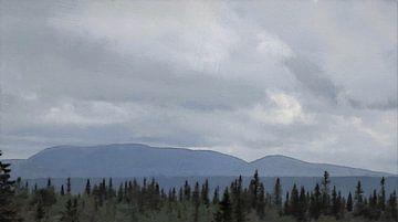 Wald Berge Bewölkung von Schildersatelier van der Ven