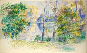 Auguste Renoir. Gezicht op een park