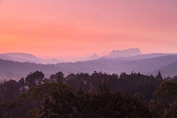 Tasmanië Cradle Valley Zonsopgang - Nationaal Park - van Jiri Viehmann
