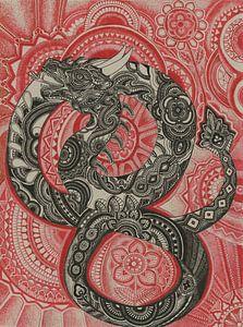 Chinesischer Drache in Schwarz und Rot von Drawing made by Lin