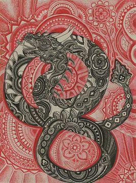 Chinese draak in zwart en rood van Drawing made by Lin