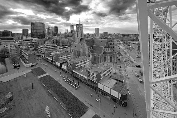 Laurenskerk zwart / wit te Rotterdam