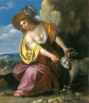 Jan van Bijlert, Jonge vrouw die een ram vasthoudt van Atelier Liesjes