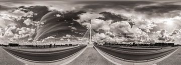 Panorama: Prince Claus pont, Utrecht avec ciel nuageux (Noir et Blanc) sur John Verbruggen