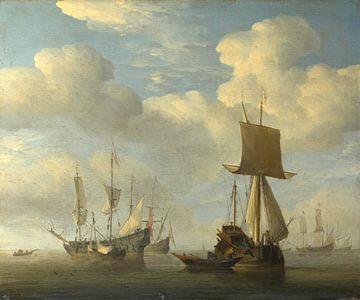 Een Engels schip en Nederlandse schepen Becalmed, Willem van de Velde