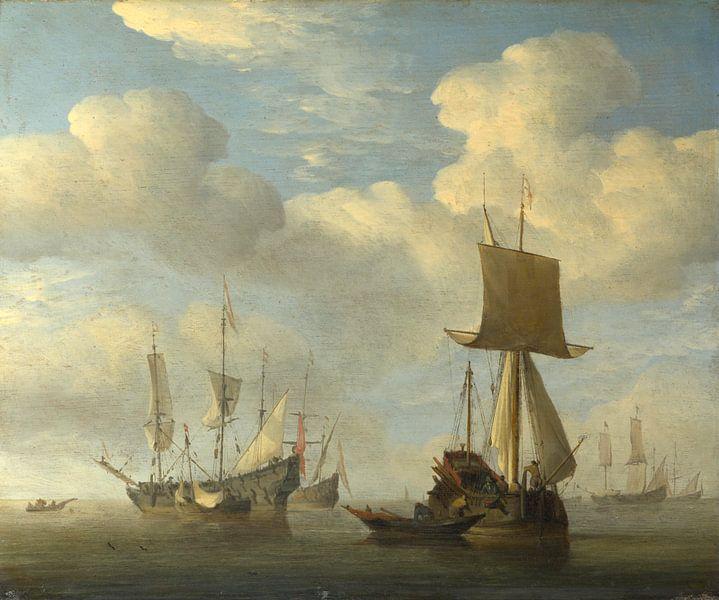 Ein englisches Schiff und niederländische Schiffe werden beruhigt, Willem van de Velde von Meesterlijcke Meesters
