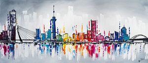 Skyline Rotterdam  van Artflow Schilderijen