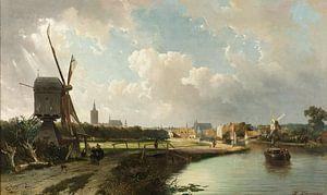 Gezicht op Den Haag, vanaf de Delftse vaart in de 17e eeuw