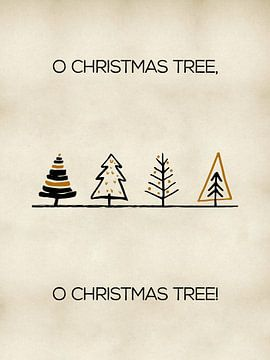 Skandinavischer Druck mit Weihnachtsbäumen in Gold und Schwarz von MDRN HOME