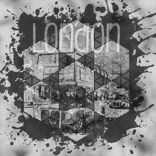 Graphic Art LONDON Streetscene | monochrome van Melanie Viola