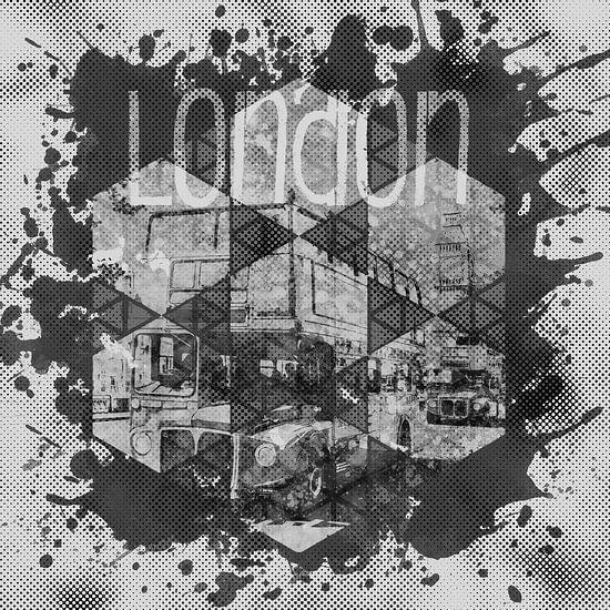 Graphic Art LONDON Streetscene   monochrome van Melanie Viola