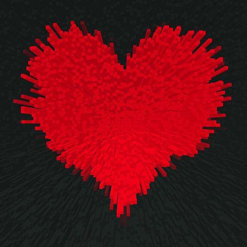 Herz , 3D Blocks Abstract
