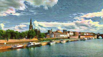 Kleurrijke skyline van Maastricht: de Maas en de Sint Martinuskerk van Slimme Kunst.nl