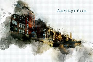 Amsterdam  watercolor poster sur Ariadna de Raadt