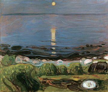 Eine Sommernacht am Strand, Edvard Munch von Meesterlijcke Meesters