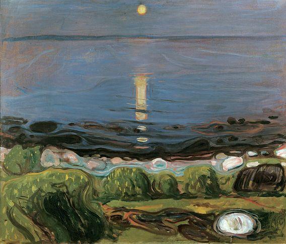 Een zomernacht op het strand, Edvard Munch van Meesterlijcke Meesters