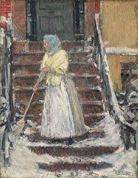 Childe Hassam, Schneeschaufeln, 1890er Jahre