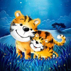 süßer Tiger mit Baby