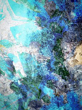 Modern, Abstract Digitaal Kunstwerk in Blauw, Grijs, Zwart van Art By Dominic