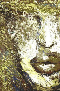 Green Portret Paletmes schilderij van Dunja Paolo