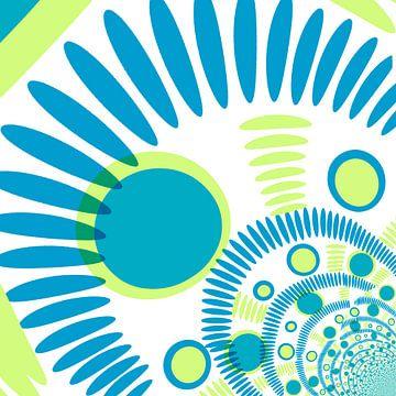 Digital abstrakt blau und grün mit punkten van Roswitha Lorz
