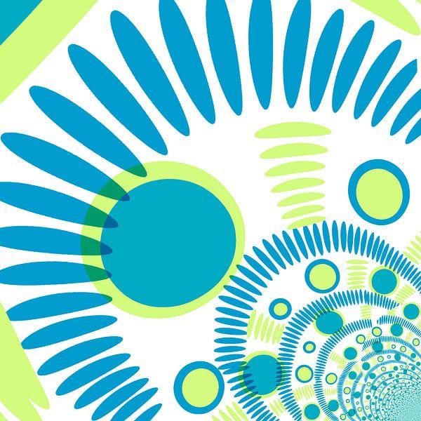 Digital abstrakt blau und grün mit punkten van Rosi Lorz