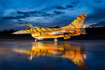 F-16 gevechtsvliegtuig in tijgerkleuren van Kris Christiaens