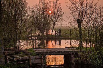 Sonnenaufgang in Bergambacht von Rob Boon