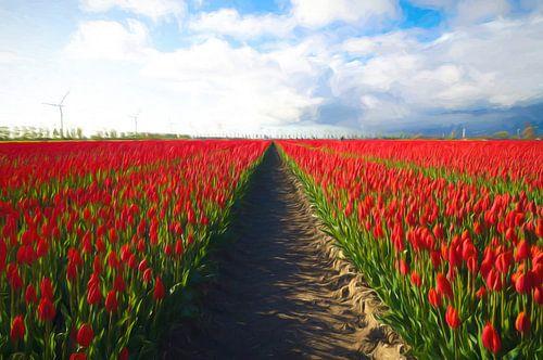 Rode velden in tulpenland. van Joris Pannemans