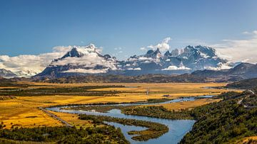 Cerro Torre met Rio Serrano in de ochtend, Torres del Paine Nationaal Park, Chili van Dieter Meyrl