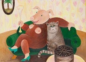 Schweinehündin mit Katze auf dem Sofa van Dorothea Linke