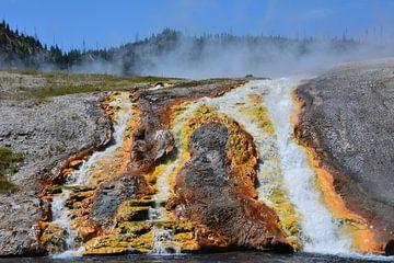 Geothermale kleuren van Mammoth Lakes in Yellowstone Amerika van My Footprints