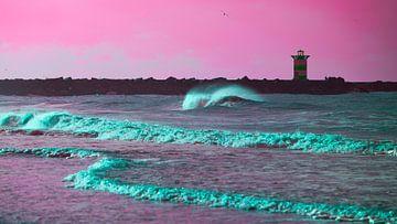 Golf voor het Scheveningse noorderhavenhoofd roze van Wen van  Gampelaere