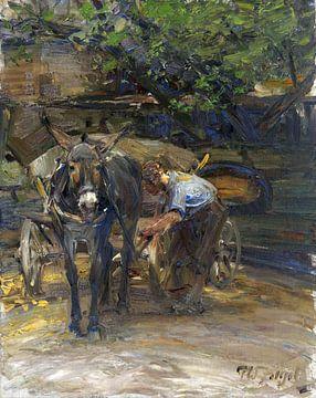 Eselfuhrwerk beim Anschirren, HEINRICH VON ZÜGEL, 1920 von Atelier Liesjes